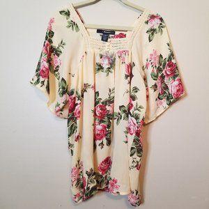 Denim 24/7 NWOT Sz 12 Cream BOHO Shirt Pink Roses